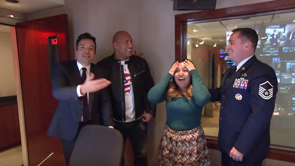 Watch Dwayne @TheRock Johnson and @jimmyfallon surprise a military family. https://t.co/HOhcgJQDv8 https://t.co/0LMpCOD0HZ