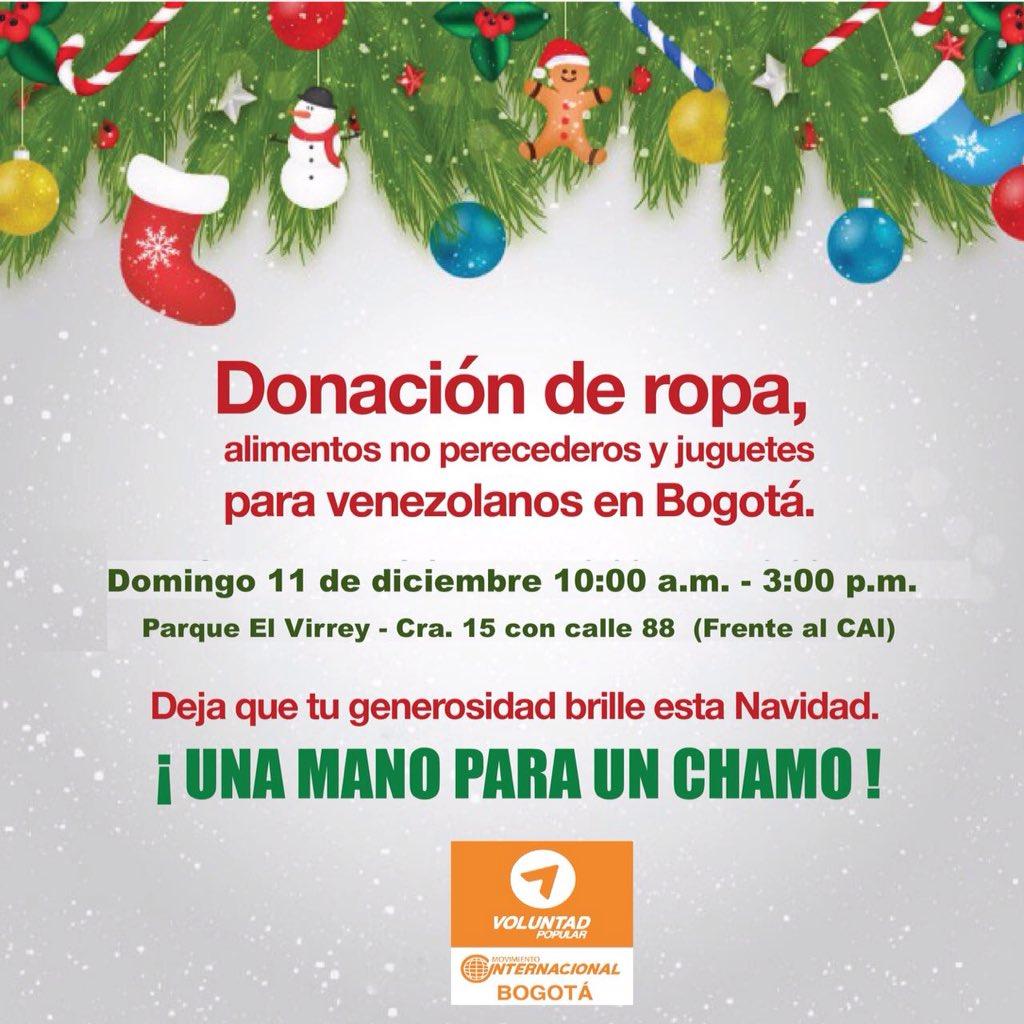 Mañana da #unamanoparaunchamo en la recolección de ropa y alimentos para venezolanos en el Parque El Virrey, Bogotá https://t.co/CMgvZRnYz2
