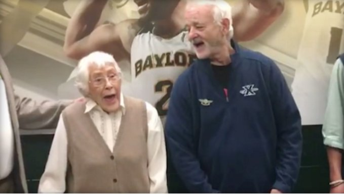 Murray sings Happy Birthday woman Baylor game Waco Texas