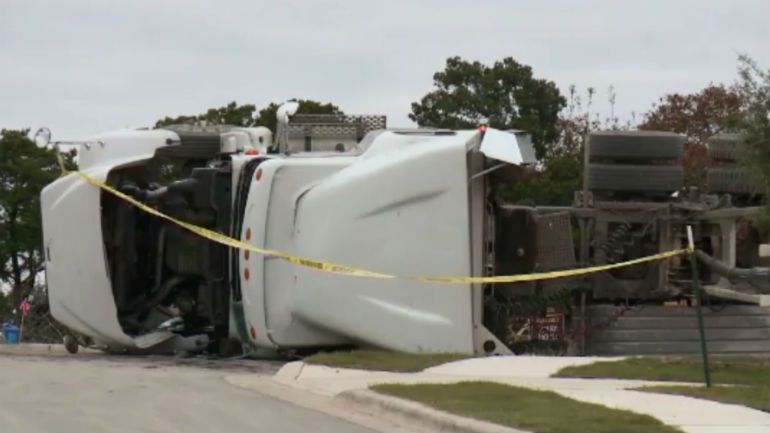 Dump truck tips over and kills man in Texas
