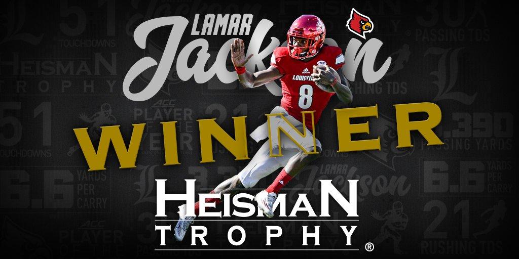 Louisville's Lamar Jackson is the 2016 Heisman Trophy Winner!  #L1C4 #Heisman #L1C4LIT https://t.co/Nx7MnS0gxt