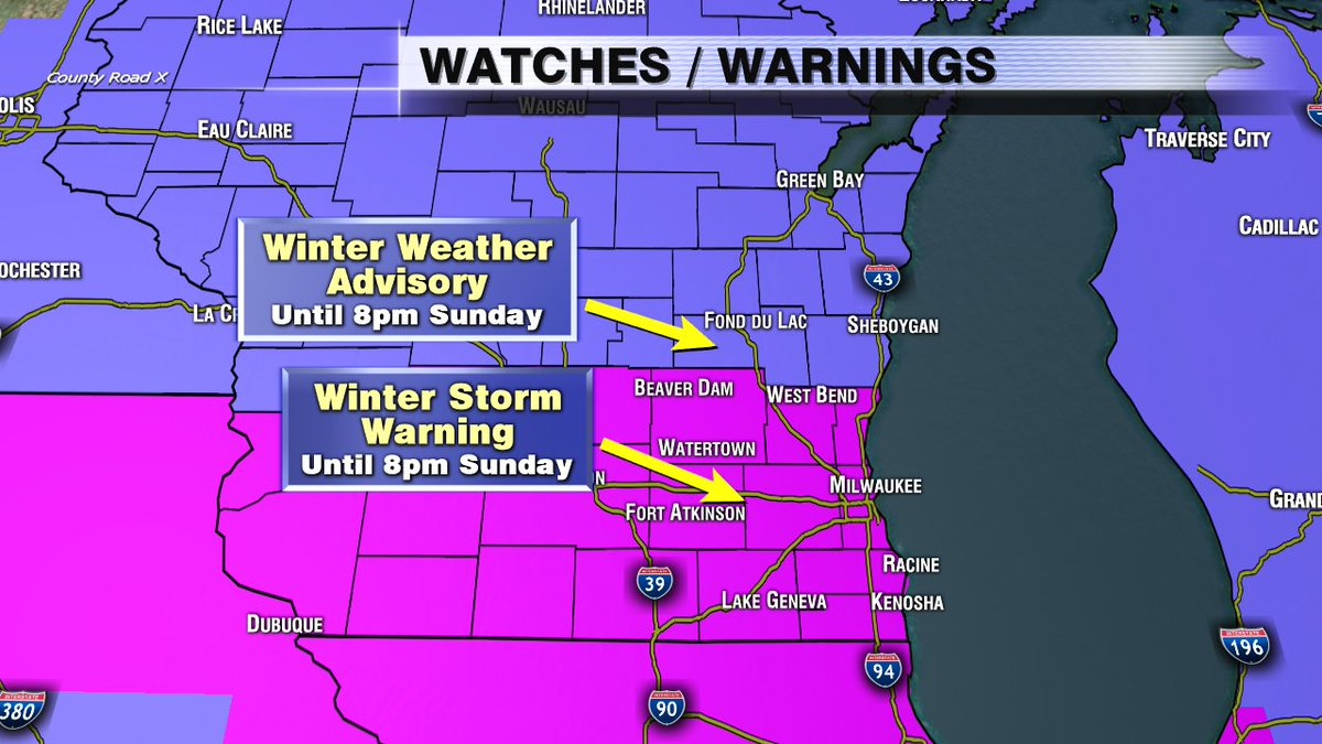 Winter Storm Warnings and Winter Weather Advisories in SE WI continue until 8pm Sunday.