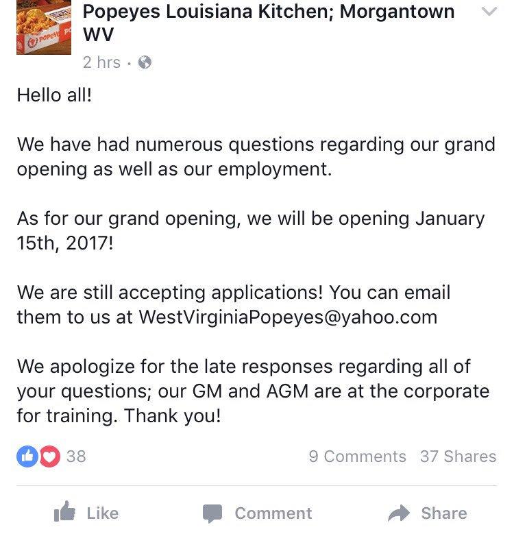 Looks like the Morgantown @PopeyesChicken will open Jan. 15 https://t.co/iCuQfsqfHr
