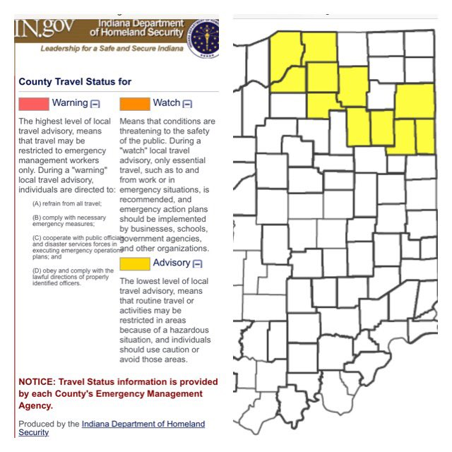 "INDOT Northeast on Twitter ""Here s a county travel advisory map"