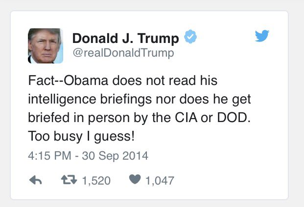 Image result for trump obama briefings tweet