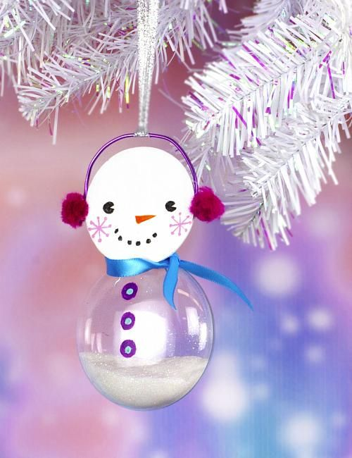 Snowman Glass Christmas Bulb Ornament