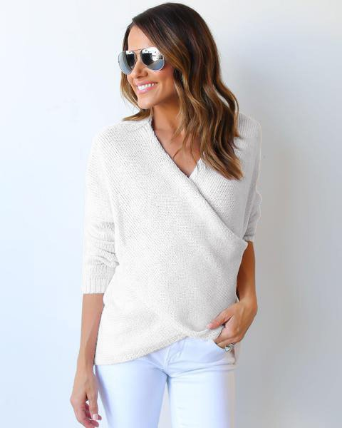 Solid Cross V Neck Irregular Sweater