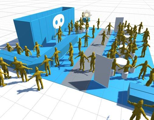 ゲムマブース。Unity上で配置をシミュレーションしてOculusでウォークスルーして見てみたりしてたんだけど、どうしても現地に行ってみないとわからない部分もあって、特にブース内の通路の位置は現地で大きく動かしたりしてた https://t.co/MK29ApZM6F