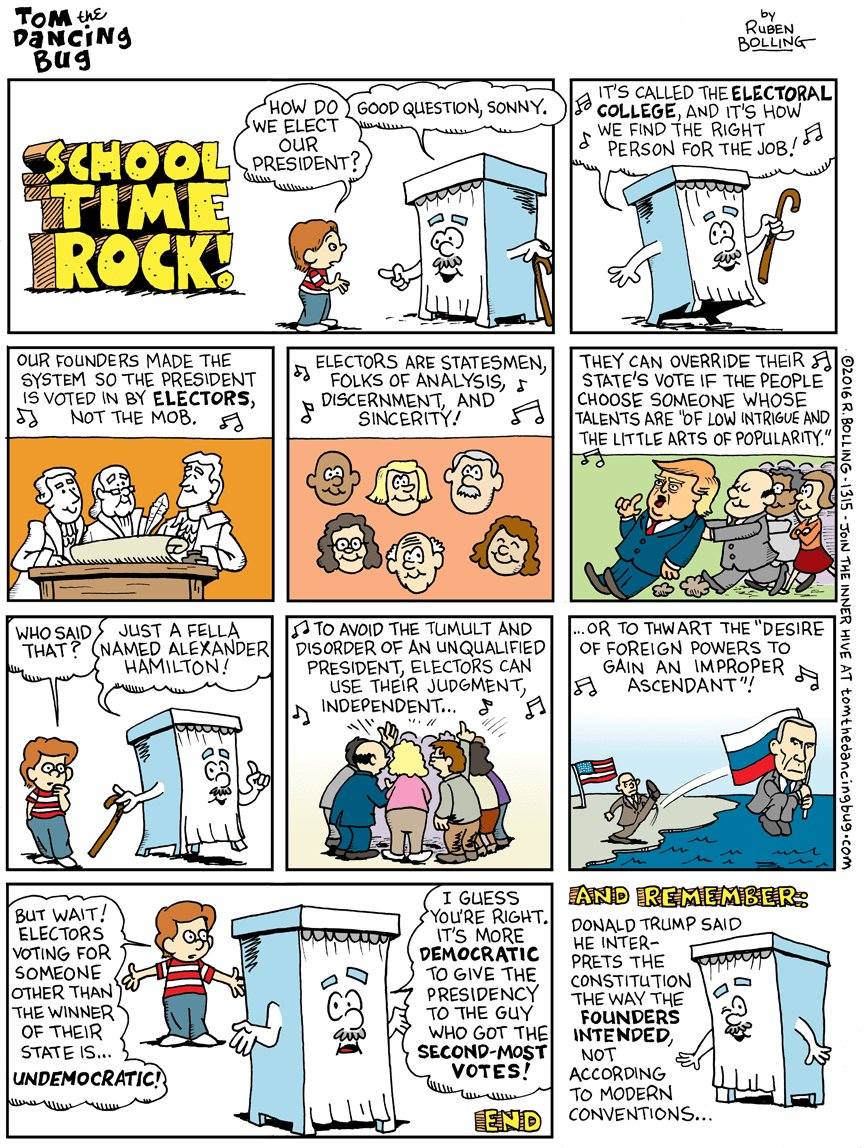 Cartoon: School Time Rock—Time to use the Electoral College https://t.co/Ifc6isOded https://t.co/M6VTaDSee3