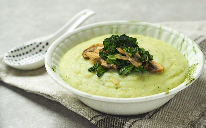 Potato Soup With Mushrooms, Kale, and Garlic [Vegan, Gluten-Free]