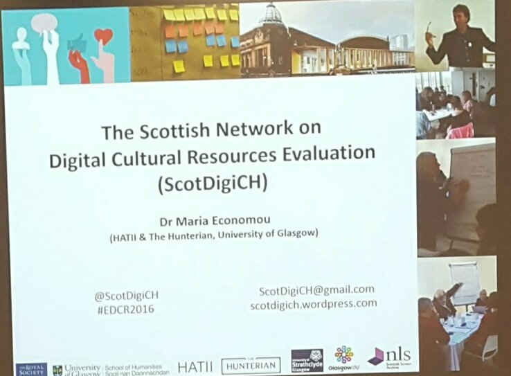 Finished with one conference and on to another! Today it's The Scottish Network on Digital Cultural Resources Evaluation #EDCR2016 https://t.co/iLPWgPfj4I