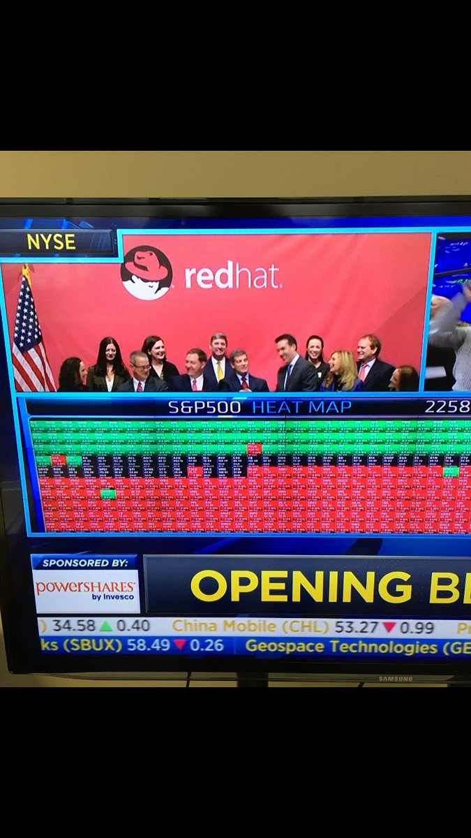 Ten years on the NYSE for Red Hat $RHT - ringing the bell this morning https://t.co/3YW6kKFowQ