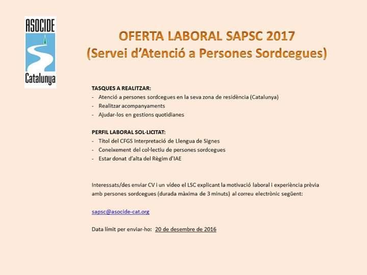 ASOCIDE-CAT busca guía-intérprete para el servicio de atención a personas sordociegas en Cataluña CzeQsGYWQAAxt3W