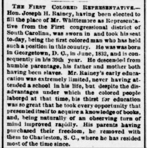 South Carolina's Joseph Rainey sworn in as 1st African American member of US House of Reps #OTD 1870 #ChronAm https://t.co/PxwDMBWGwS https://t.co/LprVh3nnVV