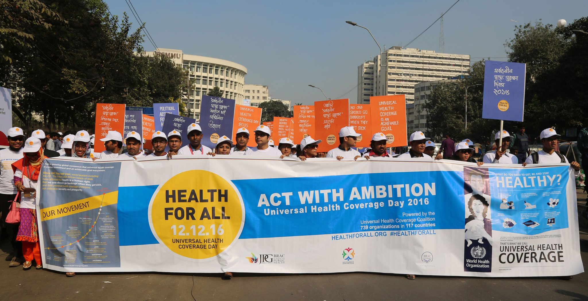 An amazing response with over 150 people marching in #Dhaka #Bangladesh for #UHCDay! #ActWithAmbition #HealthForAll #UniversalHealthCoverage https://t.co/eZbodsUJOU