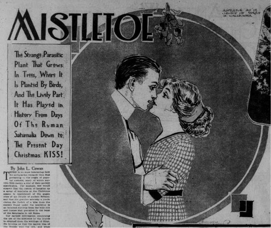 Curious about the origins of kissing beneath the Mistletoe? It dates back to the Roman Saturnalia #ChronAm https://t.co/QOwhJcn24V https://t.co/mMxCgeavtd