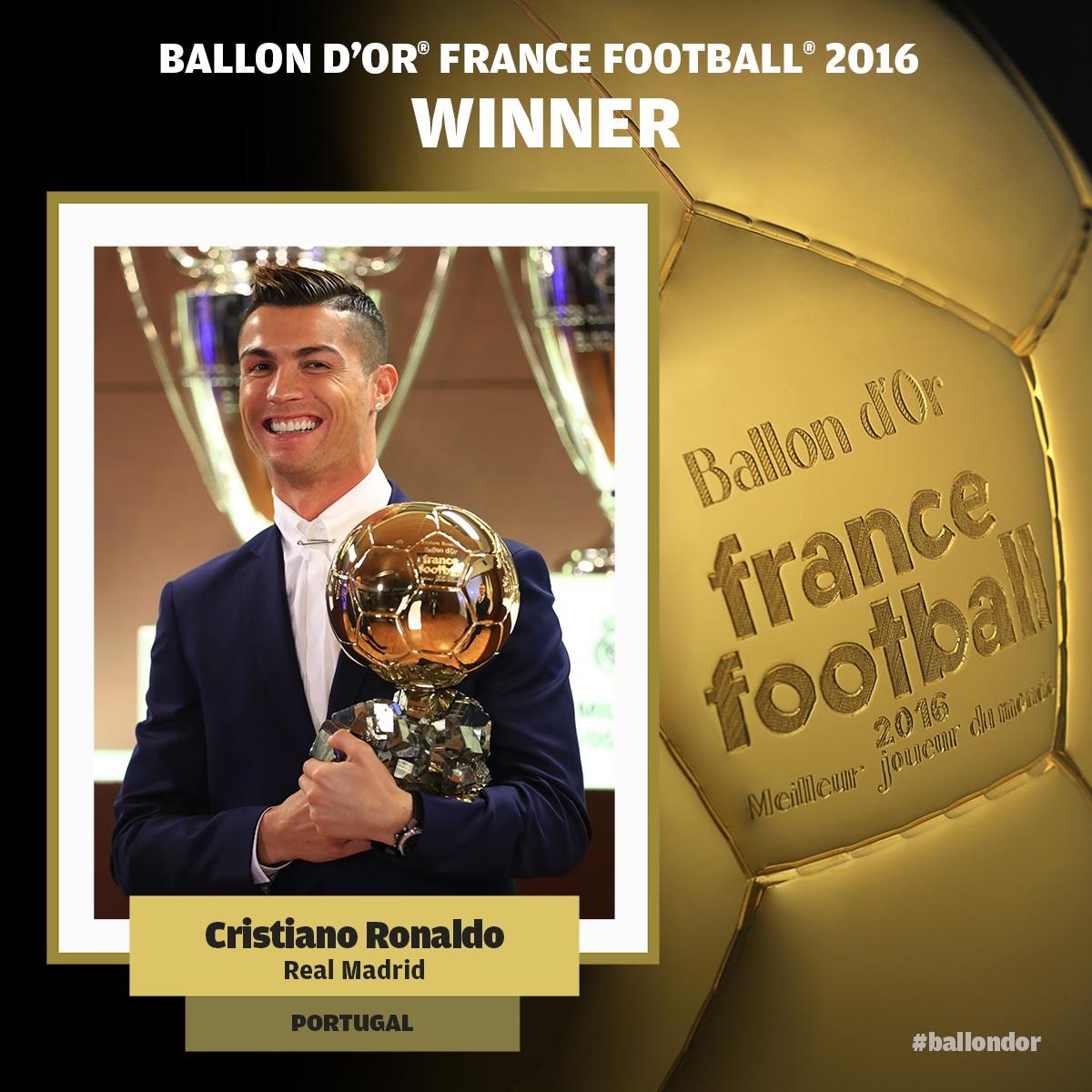 Parabéns CRISTIANO RONALDO pela conquista do Ballon d'Or France Football 2016 !  #ballondor