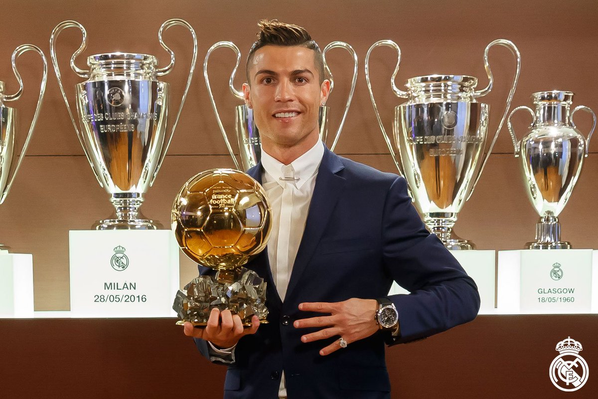 👏🏆⚽ Congratulations to @Cristiano on winning his fourth Ballon d'Or!  #HalaMadrid #RealMadrid