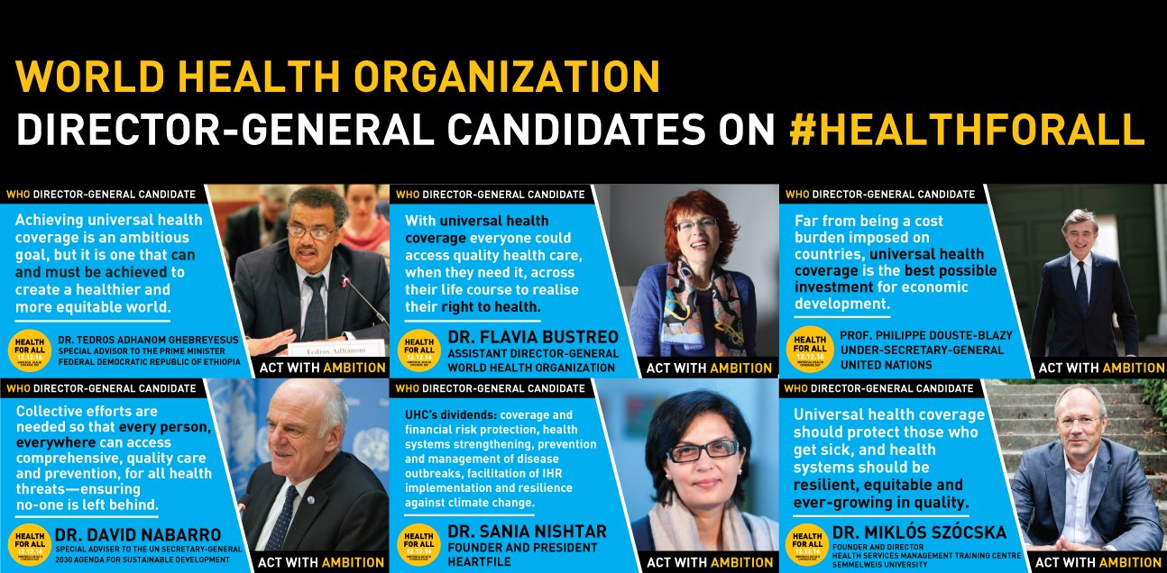 What do @WHO DG candidates have to say about #HealthForAll on #UHCDay? Download & share these new champion graphics: https://t.co/aCcPl3dMhi https://t.co/xwyVqhWYSk