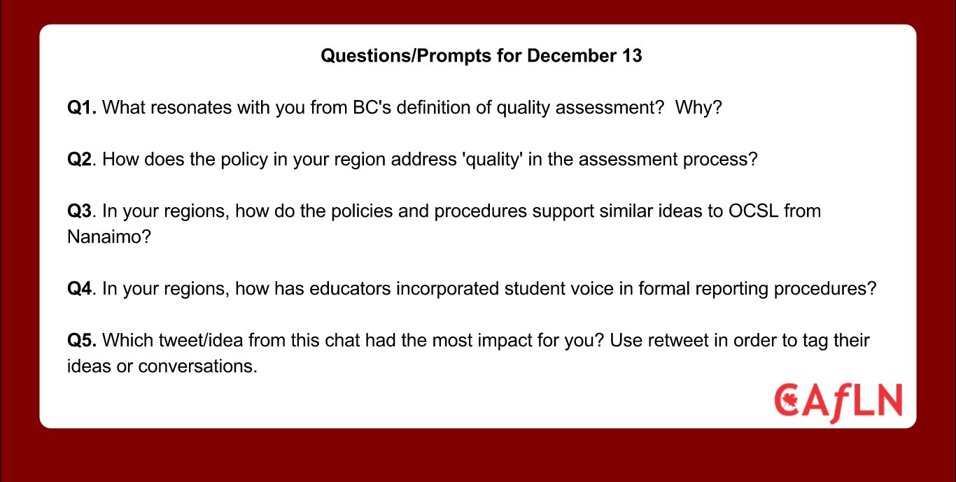 These are the questions for our #CAfLNchat tomorrow night!  Prompts relating to the BC context will be provided a bit before the chat! https://t.co/PI8DBHhCg9