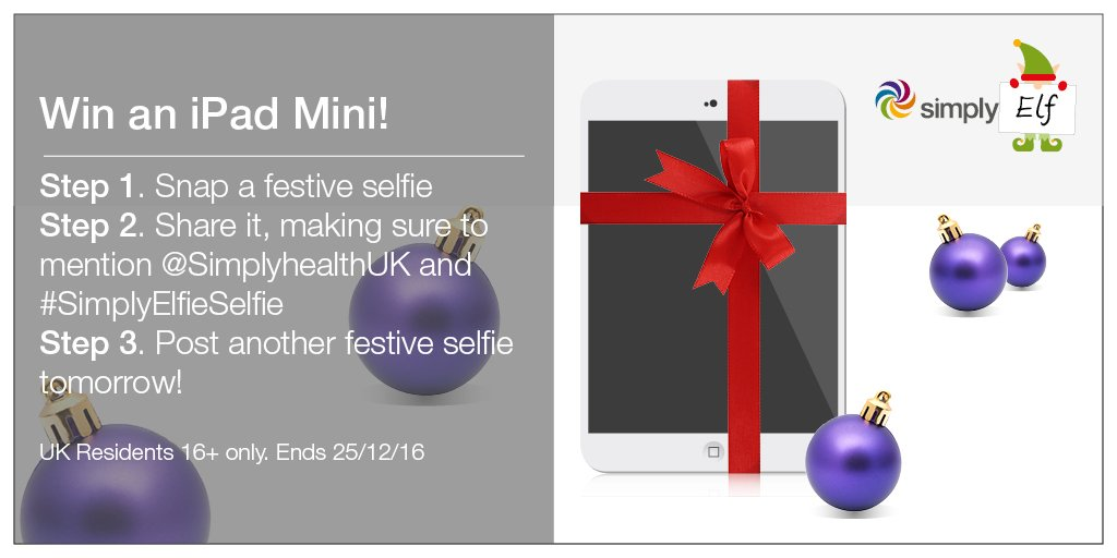 Share your #SimplyElfieSelfie and #win an iPad Mini 4! T&Cs apply https://t.co/aWO83fG0WY https://t.co/3WaGHMFfAw