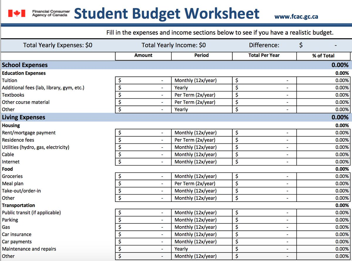 Worksheets Student Budget Worksheet funnymoneyman on twitter students download the student budget worksheet from fcacan website httpst couv3edcnwbl itpaysto