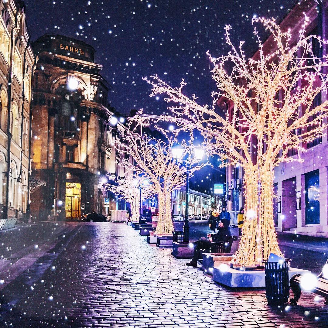 новогодний ночной город фото оформить интерьер