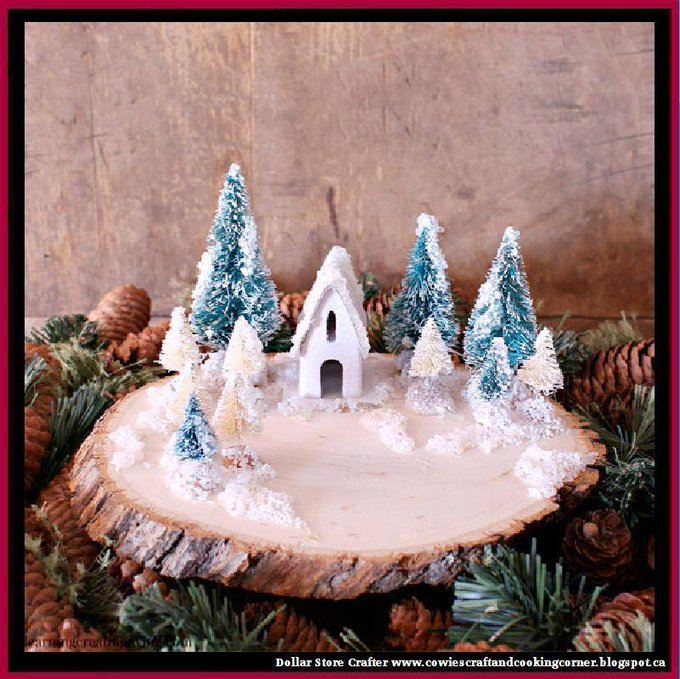 Diy Wood Slice Winter Scene