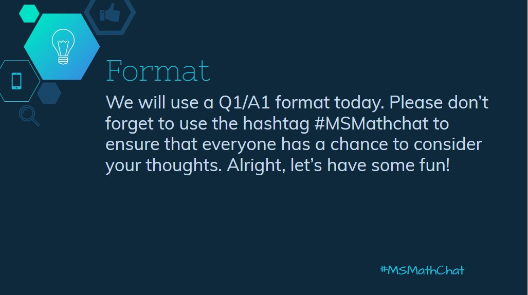 We will be using Q1/A1 format tonight. Don't forget #msmathchat on every tweet! The first question is up in 2 mins! https://t.co/x0PZlIMQUS