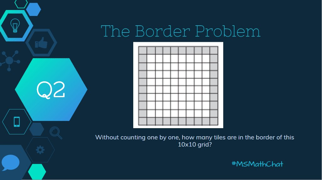 Q2 Let's try a problem! How many tiles are in the border of this 10x10 grid? #msmathchat https://t.co/MQCKjtu8TZ