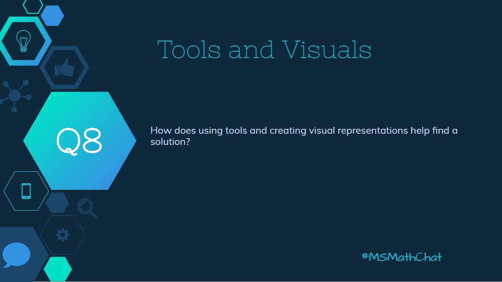 Q8 How does using tools and creating visual representations help find a solution? #msmathchat https://t.co/4ypZgsXXfT