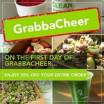 12 days of specials for our DFW social media followers! 🍏  On the first day of GrabbaCHEER, Grabbagreen DFW gives to you….20% OFF!