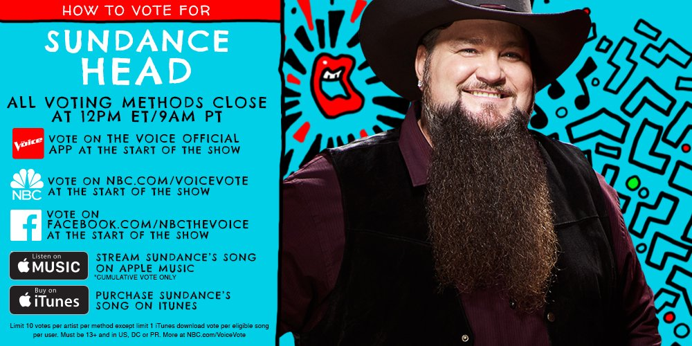 RT if you think @SundanceHead is #TheVoice of Season 11 and you're voting for him tonight. #VoiceFinale