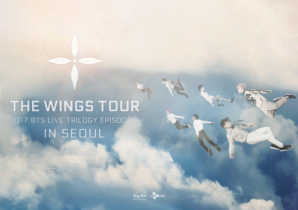 RT @BigHitEnt: 2017 BTS LIVE TRILOGY EPISODE III THE WINGS TOUR in Seoul 메인포스터  #방탄소년단 #BTS #THEWINGSTOUR https://t.co/4EdGfCUYSU