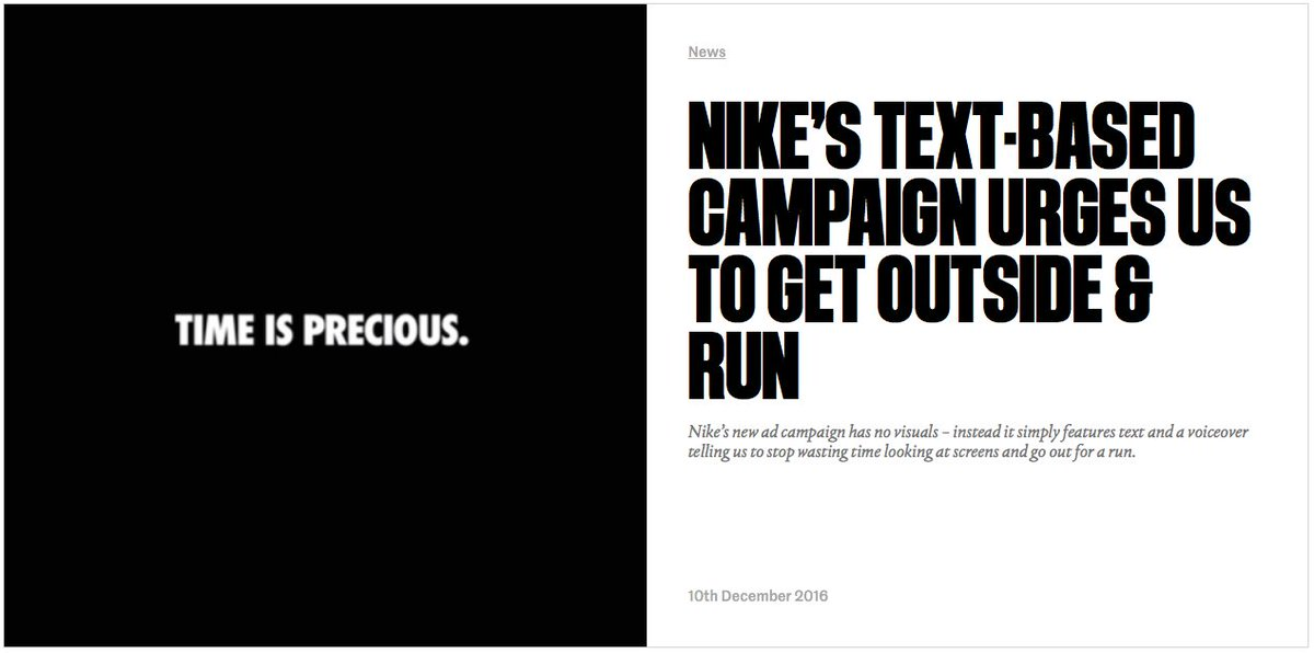 Creative Review On Twitter Nike S New Ad Campaign Has No Visuals Instead It Simply Features Text And A Voiceover Https T Co K1r5zelwgc