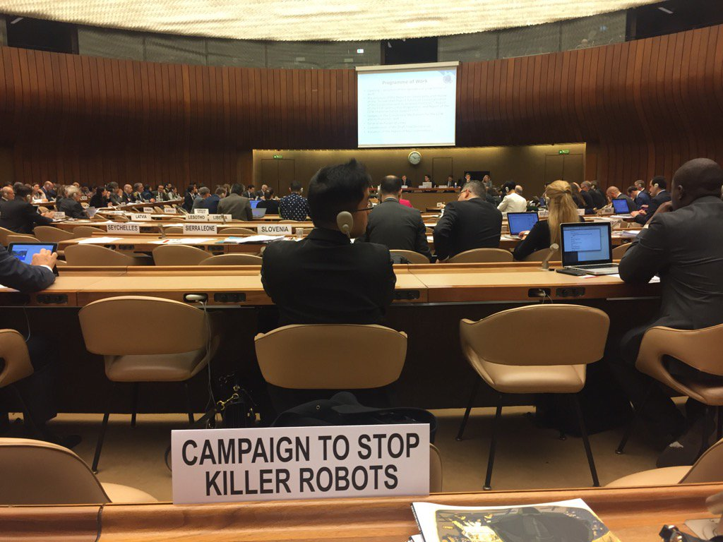 Back at #CCWUN for day 2 but lethal autonomous weapons systems will not be discussed until afternoon at earliest https://t.co/Xlb7e9tcFb
