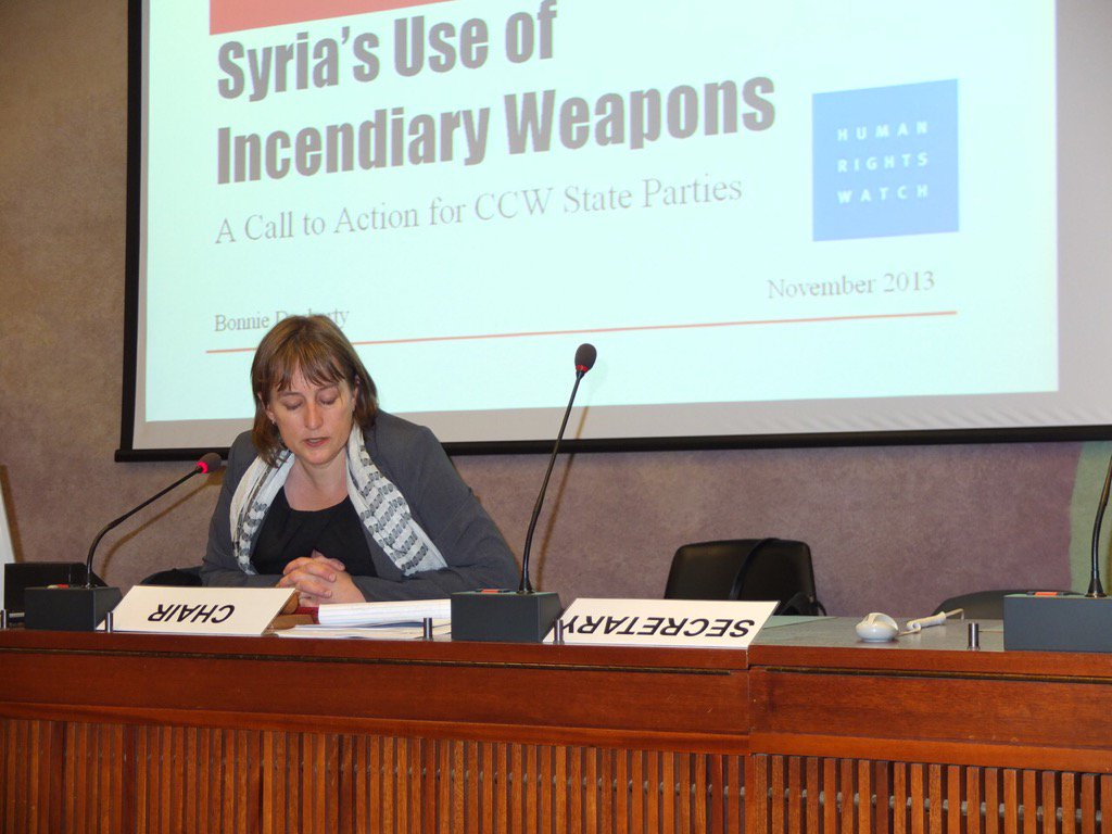 Sad that @hrw briefing #CCWUN delegates on harm from incendiary weapon attacks in #Syria since 2013 yet little action https://t.co/rfMwUh42D1