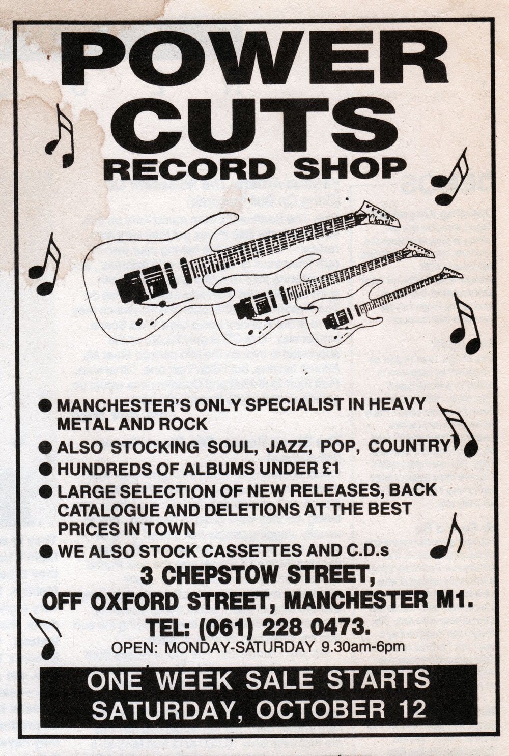 Who remembers POWER CUTS on Chepstow Street & its 'cut out' remaindered records for 49p? What classic LPs did you buy there? Advert: 1991 https://t.co/Lgmq6NyFcK