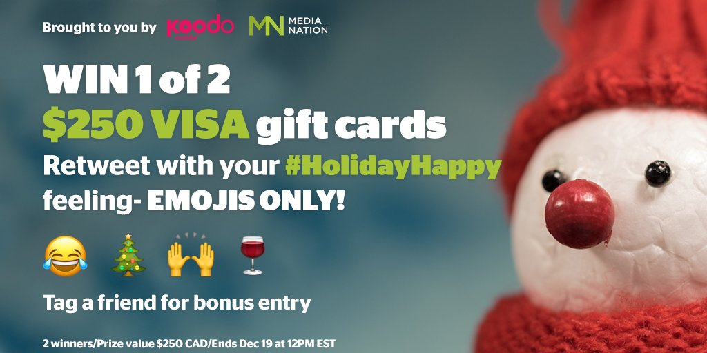 Retweet to WIN a $250 VISA by showing your #HappyHoliday with emoji's https://t.co/1grHMzLg9M https://t.co/DQXGScUXMp