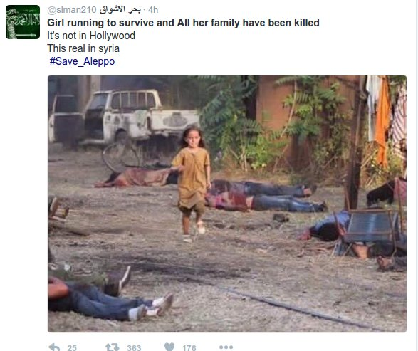 Image being shared as showing Aleppo today is actually from 2014 music video. As with Gaza, beware false info https://t.co/2SM4l8RgDF