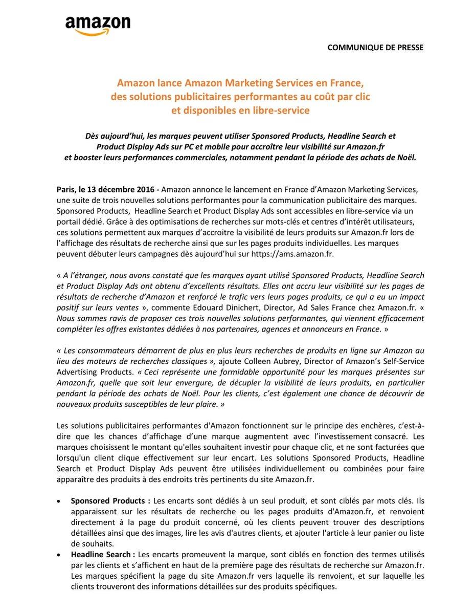 Achat média : Amazon lance Amazon Marketing Services en France, des solutions publicitaires au CPC et disponibles en libre-service https://t.co/vbj55kDHhv