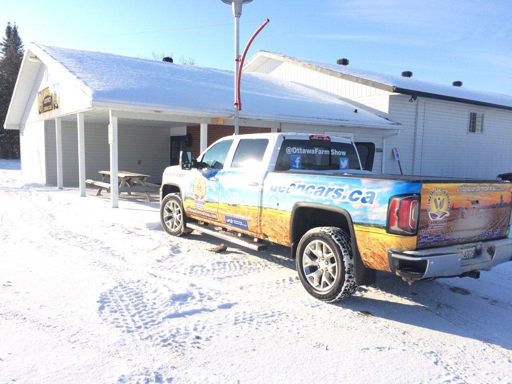 Lanark Soil & Crop agm today.  @OttawaFarmShow thanks truck sponsor @beanchevbuickgm &  show partner @FCCagriculture https://t.co/yX4s9pqUqN