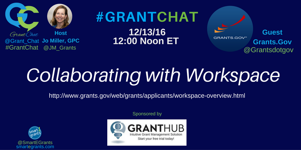 Curious about #WorkSpace for federal #grants? @grantsdotgov will be on #Grantchat TODAY to answer questions and share tips! https://t.co/dBggvs6qqT