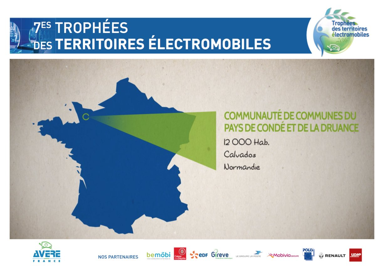 Notre 1er lauréat des #TrophéesVE : la com. de communes du pays de Condé & Druance @CalvadosDep engagée pour la #mobilité #électrique ! https://t.co/EPakcGN3jL