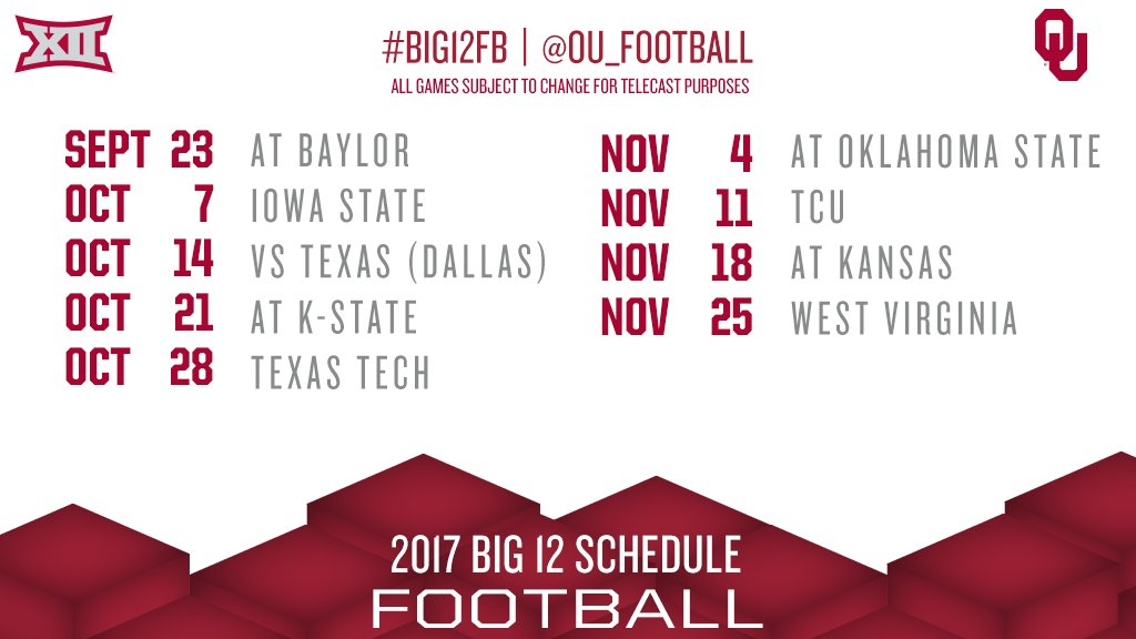 Big 12 Conference On Twitter Get Out Your Planners Ou Football