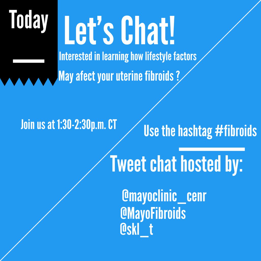 Don't forget! We're hosting a Twitter chat w/@skl_t today at 1:30pm CT join us using #fibroids https://t.co/v5DmK33DW0