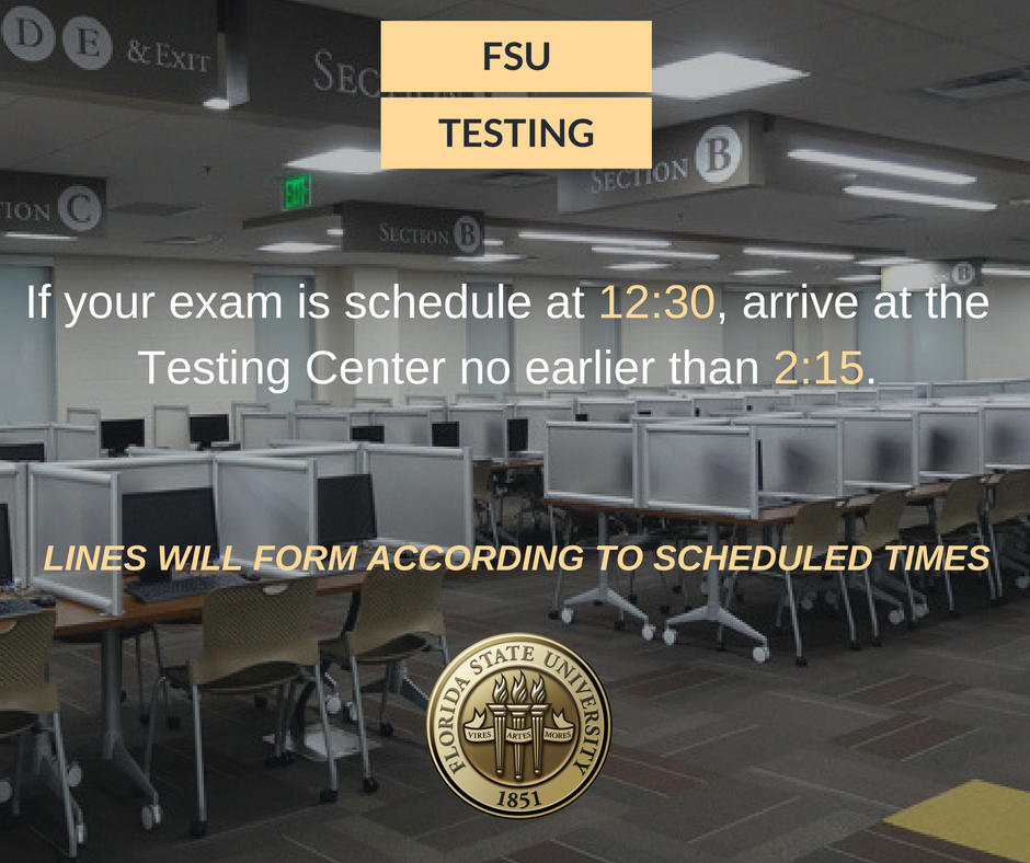 FSU Distance On Twitter Testing Center Exams For 12 13 Are Pushed