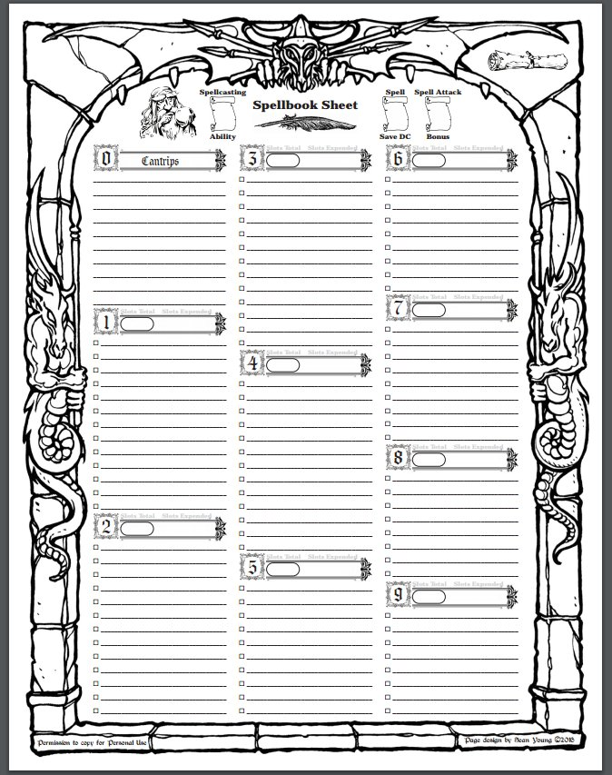 This is a graphic of Remarkable D&d 5e Spell Sheet Printable