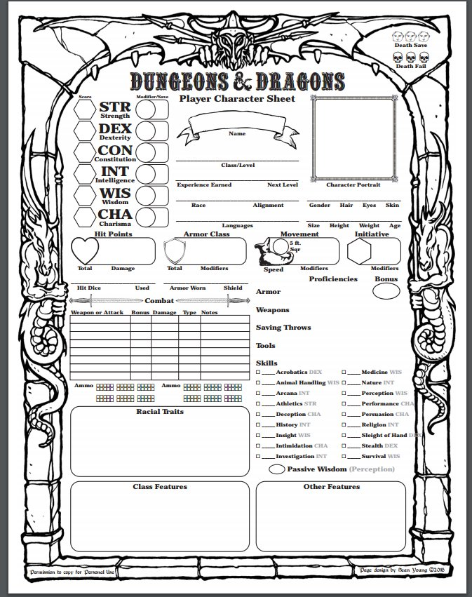 Gargantuan image with 5e character sheet printable