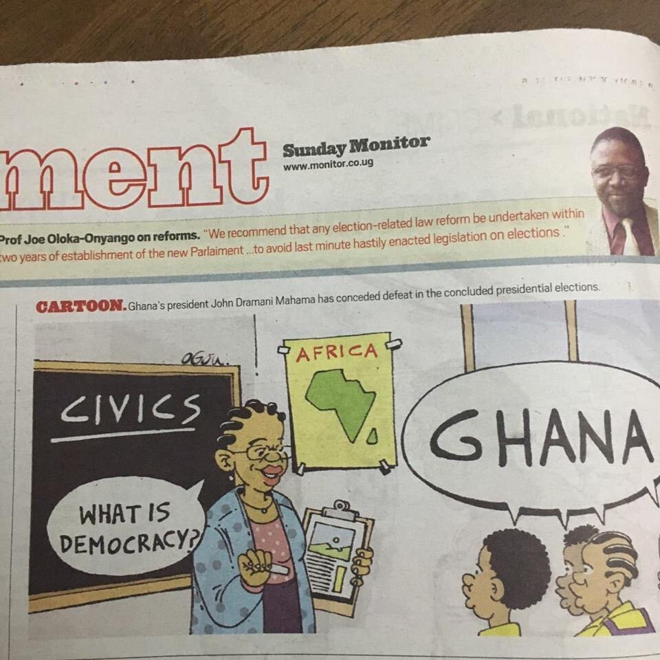 A wonderfully pertinent and justified cartoon in a Ugandan newspaper. #Ghana https://t.co/OSgrPhdGAp